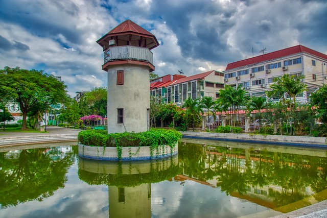 Observation tower in Rommaninat park on Rattanakosin island (Old Town) in Bangkok, Thailand