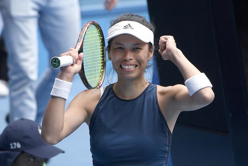 謝淑薇闖進澳網女單8強後慶祝。(達志影像)
