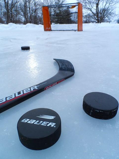 Hockey outside in Wisconsin
