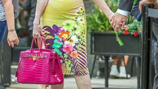 Hand-holding #21 (with pink crocodile Birkin bag)