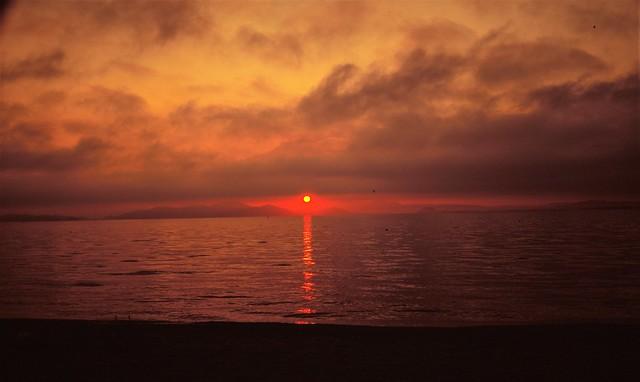 sunrise, lakeside of shimosakamoto, Japan
