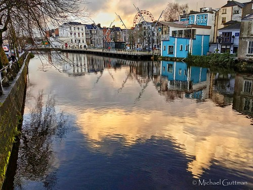 ireland cork river reflection sunset riverlee clouds