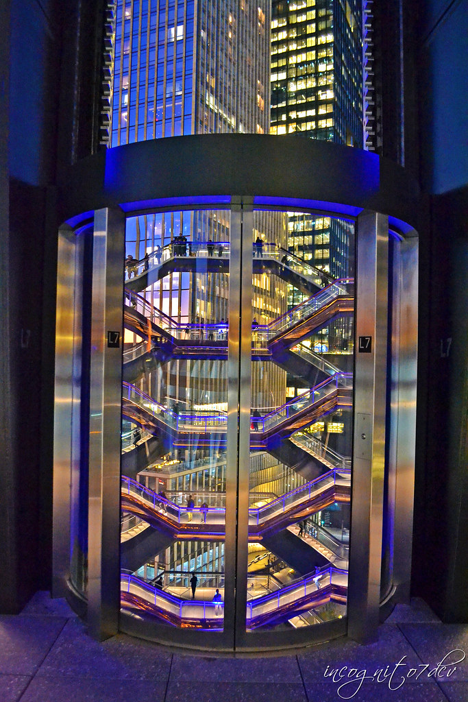 The Vessel Level 7 Elevator at Blue Hour Hudson Yards Manhattan New York City NY P00803 DSC_2548