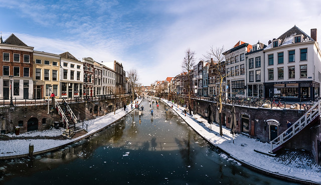 Ice Scating on the Utrecht Oudegracht Canal