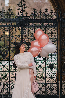 cream pointelle sweater, pleated skirt, suede boots, pink bag, balloons-17.jpg | by LyddieGal