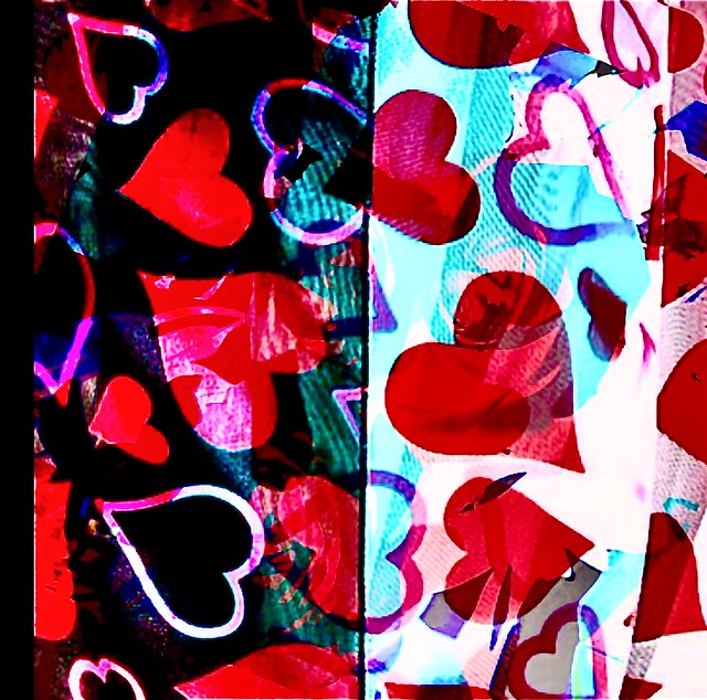Happy Valentine's Day everyone‼️❤️  My own photo of my own hearts scarves and then processed with IPhone apps.