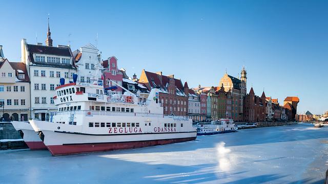 Gdańsk - frozen river Motława