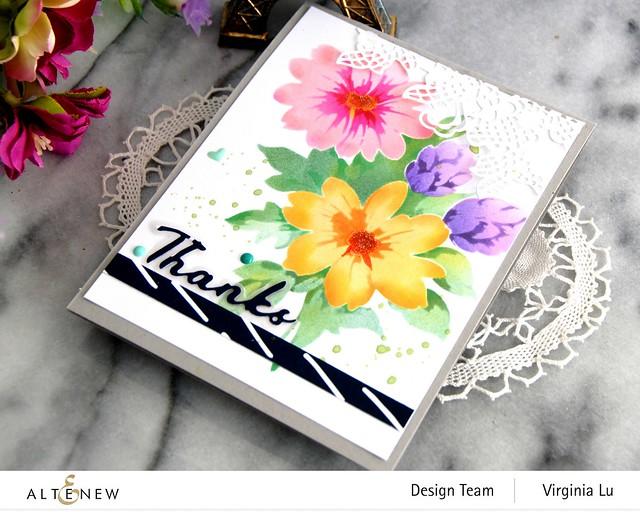 Altenew-Flower Bunch Simple Layering Stencil-Simple Greetings Die-Sweet Moments Paper Pack-Seashore Enamal Dots -002