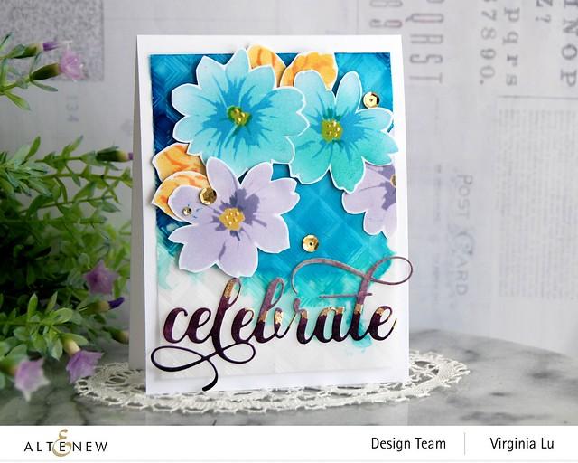Altenew-Flower Bunch Simple Layering Stencil-Mod Square 3D Embossing Folder-Fancy Celebrate Die-Artist Marker Refill-001