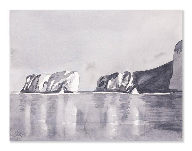 Watercolour 0033 - Tonal Sketch - Old Harry Rocks - Dorset