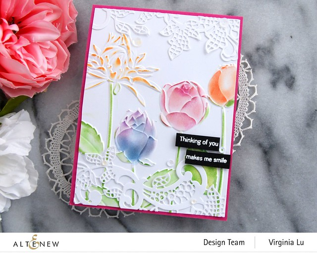 Altenew-Floral Lace Die-Flowery Field 3D Embossing Folder -Tall Foliage Stamp Set -003