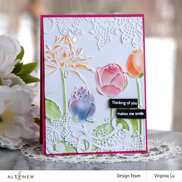Altenew-Floral Lace Die-Flowery Field 3D Embossing Folder -Tall Foliage Stamp Set