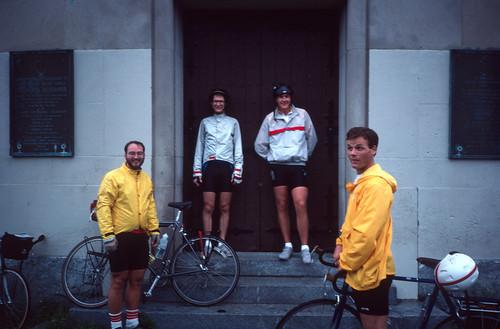 Cyclists on a rainy day