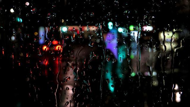 Brake lights in the rain