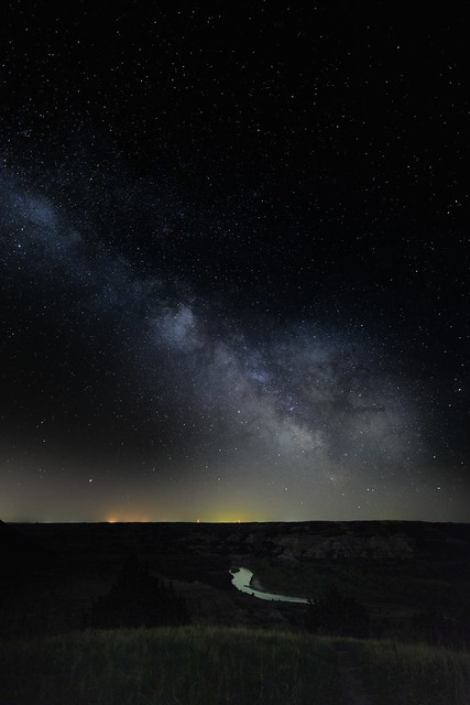 Nighttime Skies Over Theodore Roosevelt National Park with the Milky Way Galaxy Center