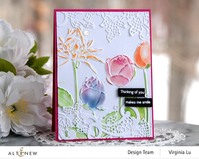 Altenew-Floral Lace Die-Flowery Field 3D Embossing Folder -Tall Foliage Stamp Set -001