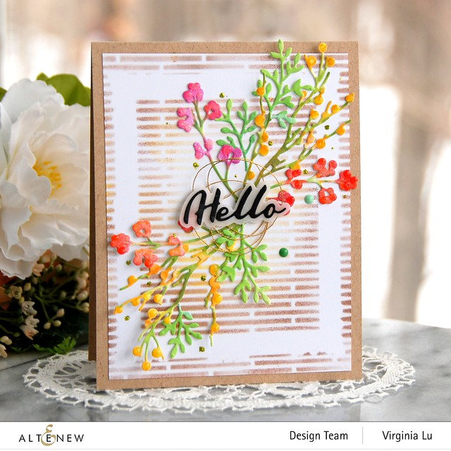 Altenew-Branches & Berries Die Set-Narrow Brick Stencil-Simple Mask Frame Stencil-Simple Greetings Die Set