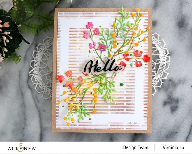 Altenew-Branches & Berries Die Set-Narrow Brick Stencil-Simple Mask Frame Stencil-Simple Greetings Die Set-003