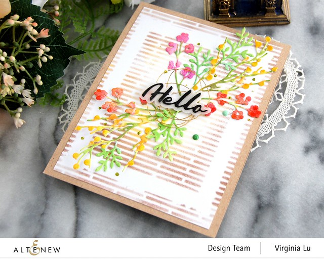 Altenew-Branches & Berries Die Set-Narrow Brick Stencil-Simple Mask Frame Stencil-Simple Greetings Die Set-002