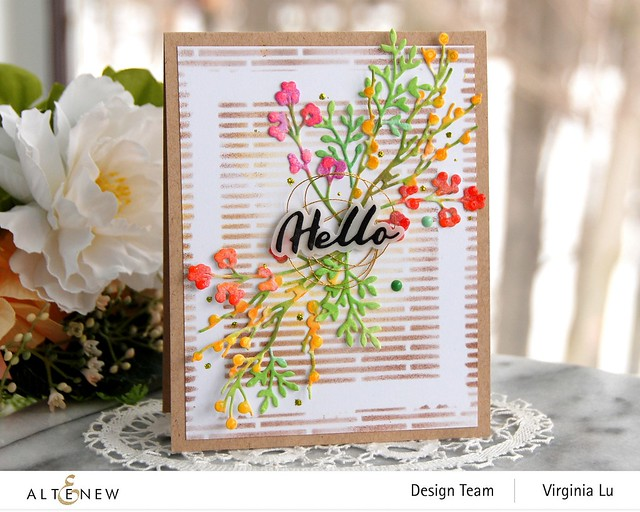 Altenew-Branches & Berries Die Set-Narrow Brick Stencil-Simple Mask Frame Stencil-Simple Greetings Die Set-001