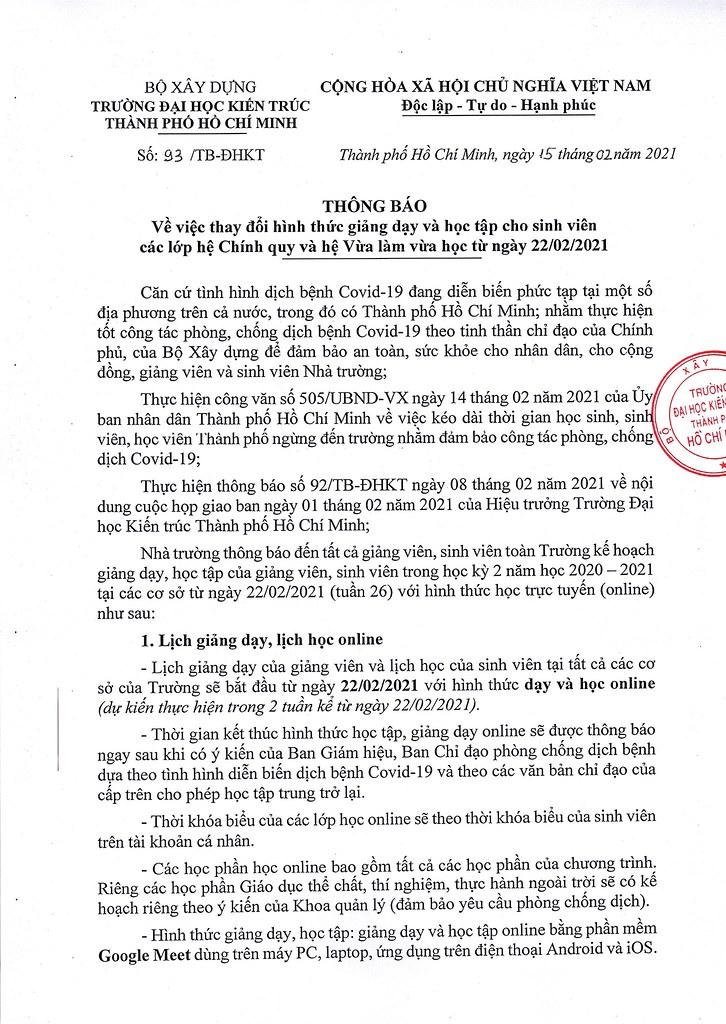 93- Thong bao ve viec thay doi hinh thuc giang day va hhoc tap cho sinh vien cac lop he Chinh quy va he Vua lam vua hoc tu ngay 22.2.2021_Page_1