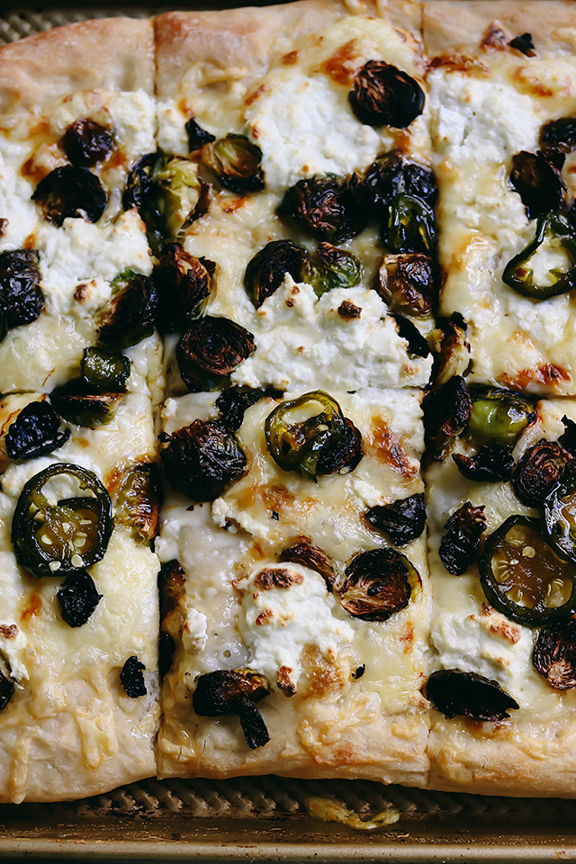 Roasted Brussels Sprout, Ricotta, and Jalapeno Honey Pizza