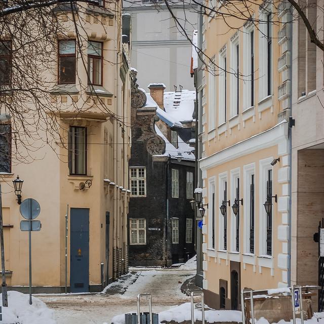 Vecrīga, Rīga, Latvia узкая улочка! Старая Рига. February , 2021