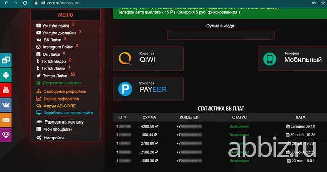 Сервис для заработка Ad-core | Заработать 25 000 рублей не выходя из дома без вложений – ТОП 20 сервисов  abbiz.ru