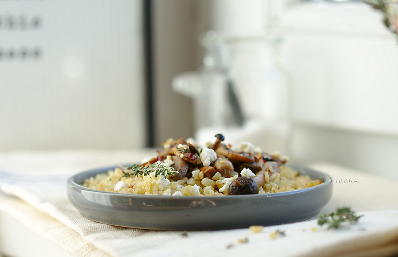 bulgur with mushrooms and feta