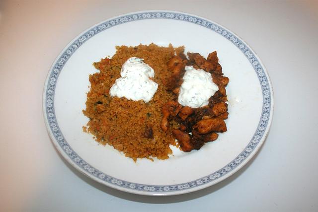Chicken gyros with vegetable couscous & tzaziki - Leftovers II / Hähnchengyros mit Gemüsecouscous & Tzatziki - Resteverbrauch II