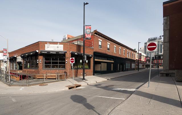 Empty downtown street in Ottawa, Ontario, Canada