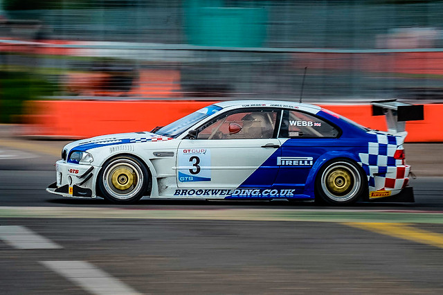 Tom Webb driving his BMW 3 Series during a UK GT Cup championship race at Silverstone Circuit.