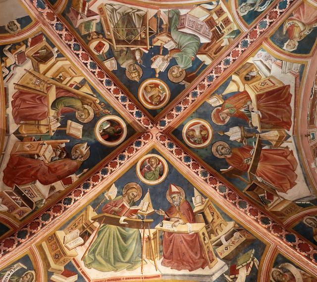 Giovanni di Corraduccio detto anche Giovanni Mazzaforte (documentato a partire dal 1404 e fino al 1437)  - Evangelisti, dottori della chiesa e Santi (I quarto del XV secolo) - Cappella dell'Assunta - complesso Museale di San Francesco - Montefalco