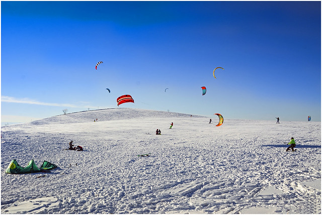 Snow kiting on the 'Schauinsland' mountaintop