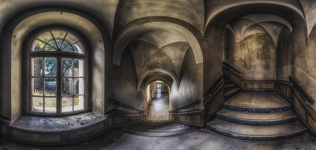 abandoned castle staircase