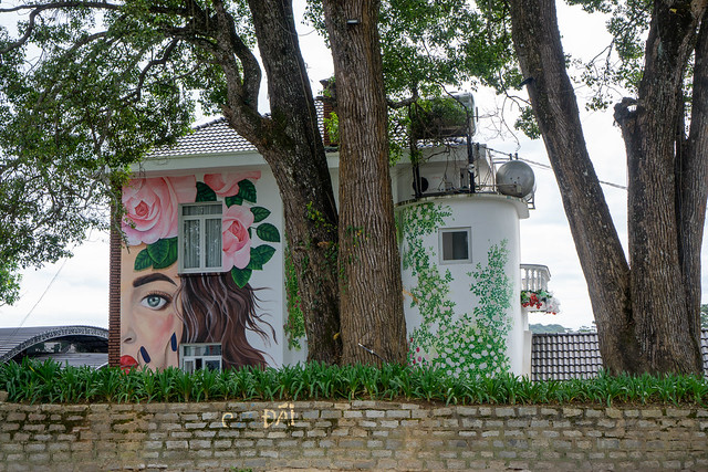 Large Wall Art of a Woman with Flowers and Plants on a White House in Dalat, Vietnam