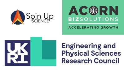 Logos for Spin Up Science, Acorn Biz Solutions, and the EPSRC