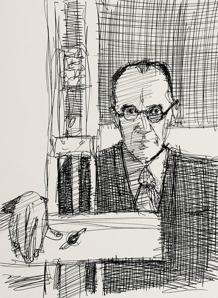Portrait of Piet Mondrian. Dutch Painter. 1872-1944. Ballpoint pen only sketch on ivory card,