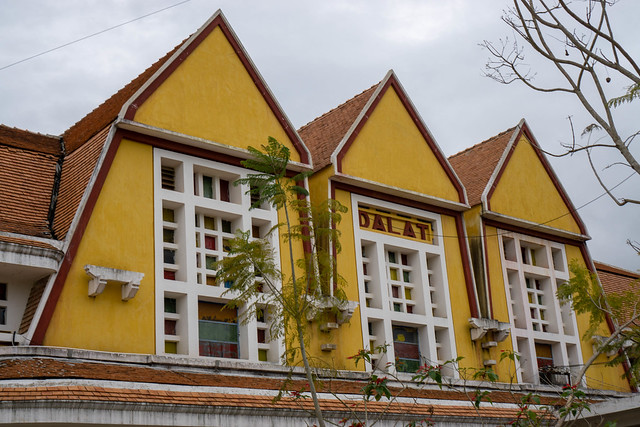 Dalat Railway Station Arrival and Departure Building seen from the Inside of the Station in Da Lat City, Vietnam