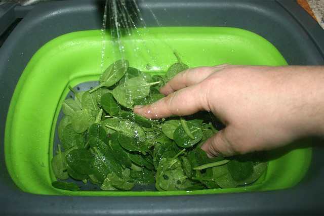 31 - Wash leaf spinach / Blattspinat-waschen