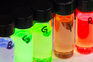 The emission color of colloidal quantum dots changes from red to green and then blue with decreasing quantum dot size.