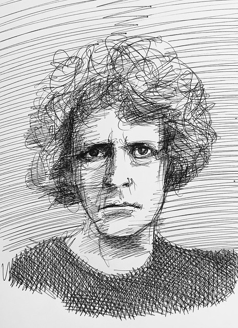 My Ballpoint pen only drawing of Grayson Perry, CBE, RA. English Artist. writer, and Broadcaster.