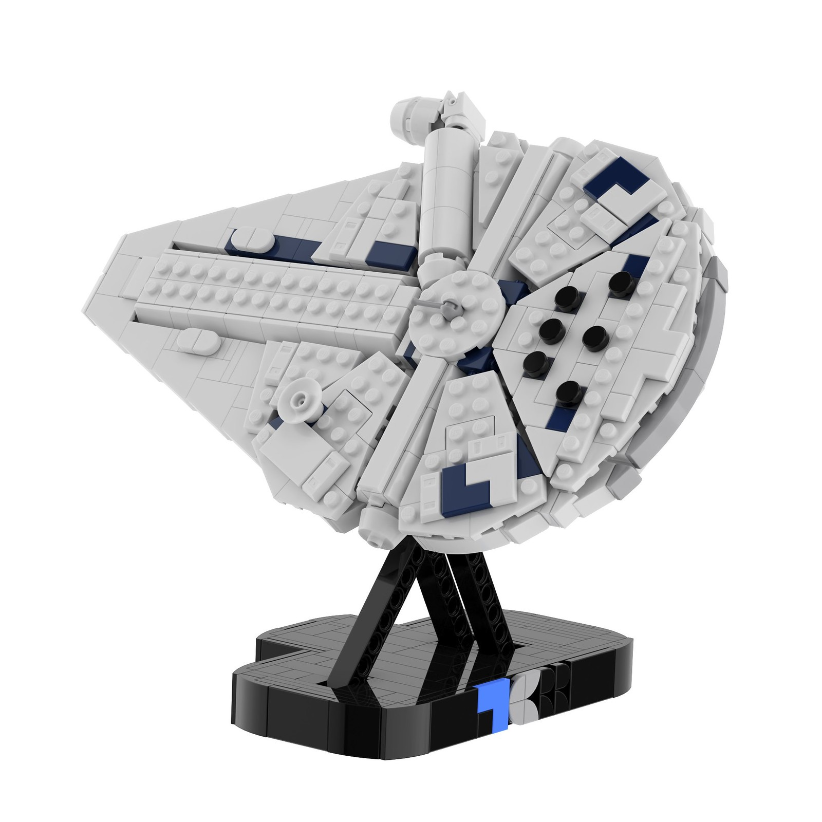 Mini-Scale Kessel Run Millennium Falcon with Display Stand MOC