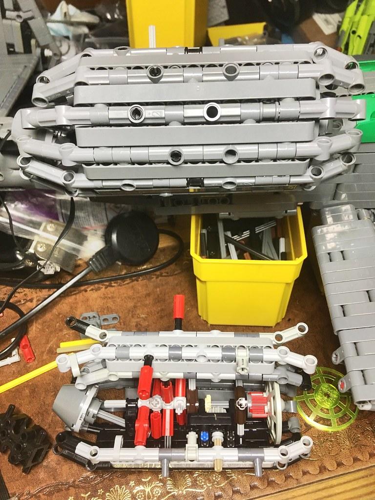 Inside the modular fake turbofan.