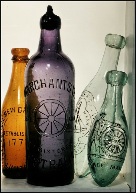 19th c Wagon and Steering Wheel Bottles from my collection.