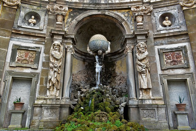Lazio, Frascati, the Atlas fountain of Villa Aldobrandini