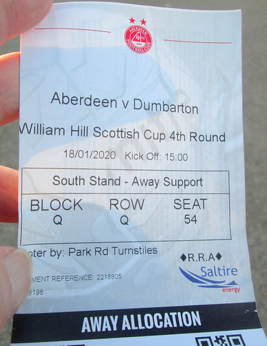 Ticket to Aberdeen - Dumbarton Scottish Cup Tie, January 2020
