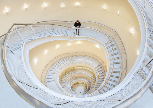 spiral staircase, architecture, symmetry, los angeles, california