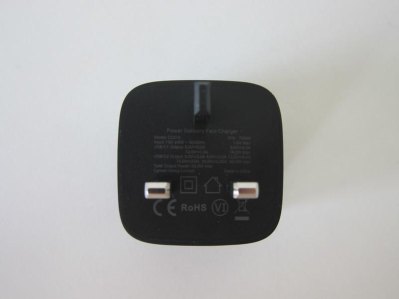 Ugreen 65W GaN Dual USB-C Charger - Bottom