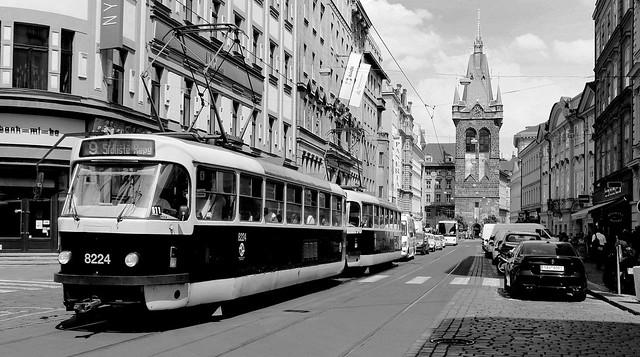 Prague City Scene With No. 9 Tram